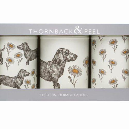 d x 150mm Thornback and Peel Dog /& Daisy Set of 3 Round Caddies 106