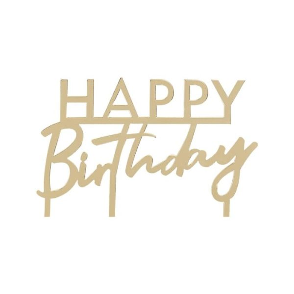 Gold Acrylic Happy Birthday Cake Topper By Ginger Ray
