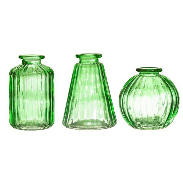 GLEE040_A_Green_Glass_Bud_Vases_Set_3